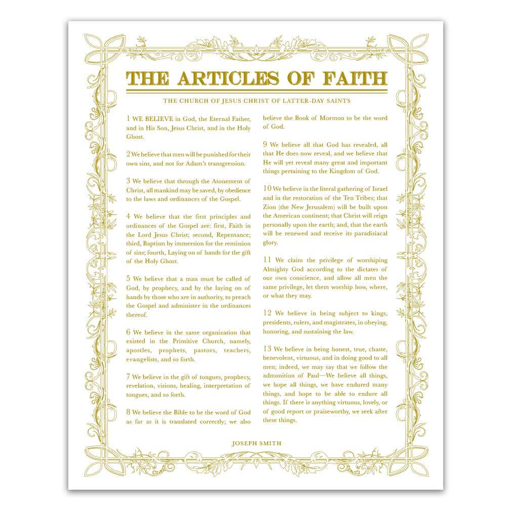photograph regarding 13 Articles of Faith Printable identified as Leaf Define Content material of Religion - Gold - Printable