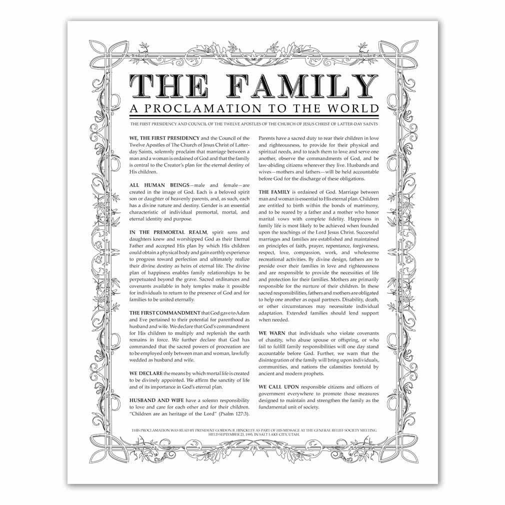 photograph about The Family a Proclamation to the World Printable named Leaf Define Relatives Proclamation - Black - Printable