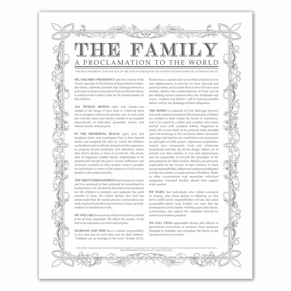 photo about Family Proclamation Printable referred to as Leaf Determine Loved ones Proclamation - Charcoal - Printable