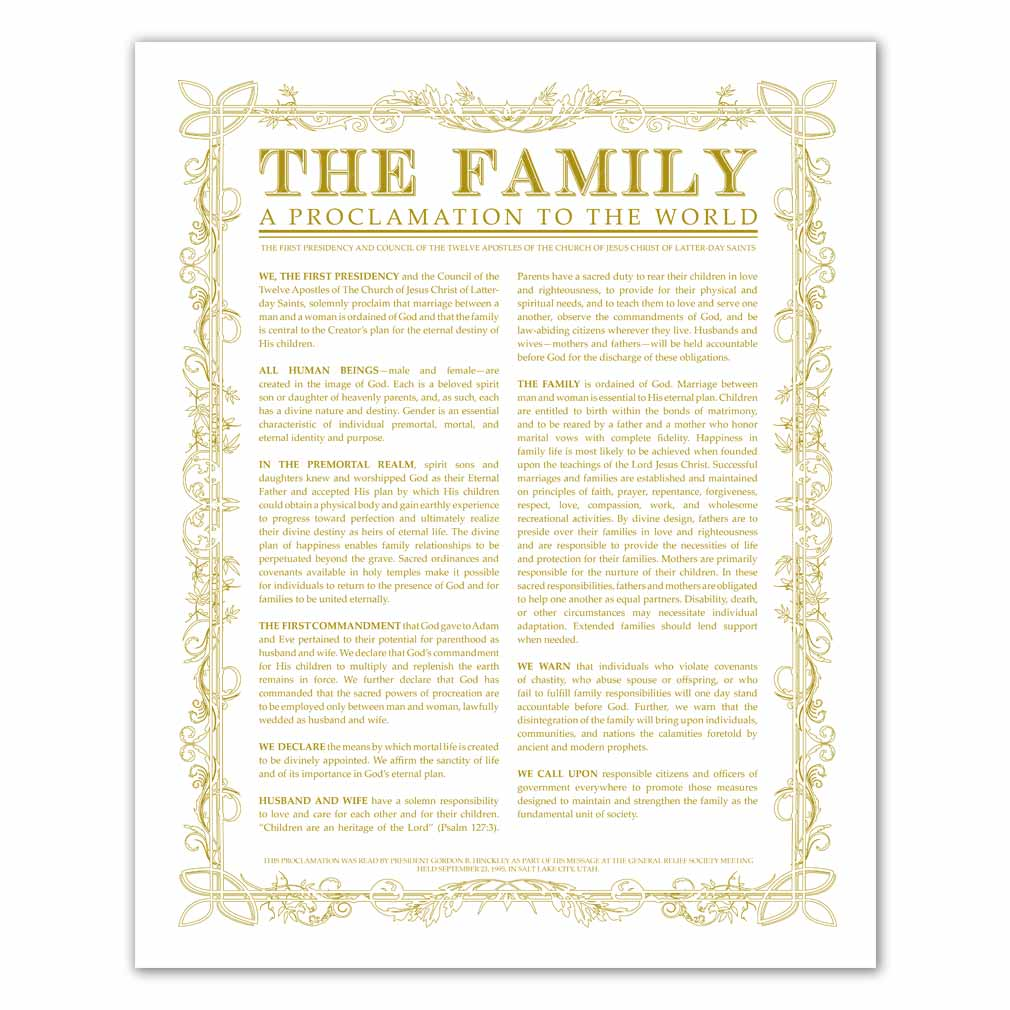 photograph about Family Proclamation Printable identify Leaf Define Household Proclamation - Gold - Printable