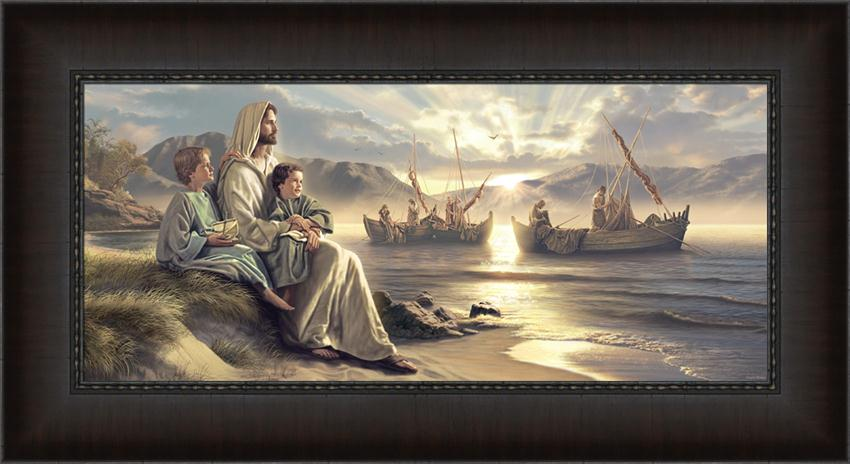 Men Of Galilee - Framed in Jesus with Children ... Jesus Christ Lds Simon Dewey