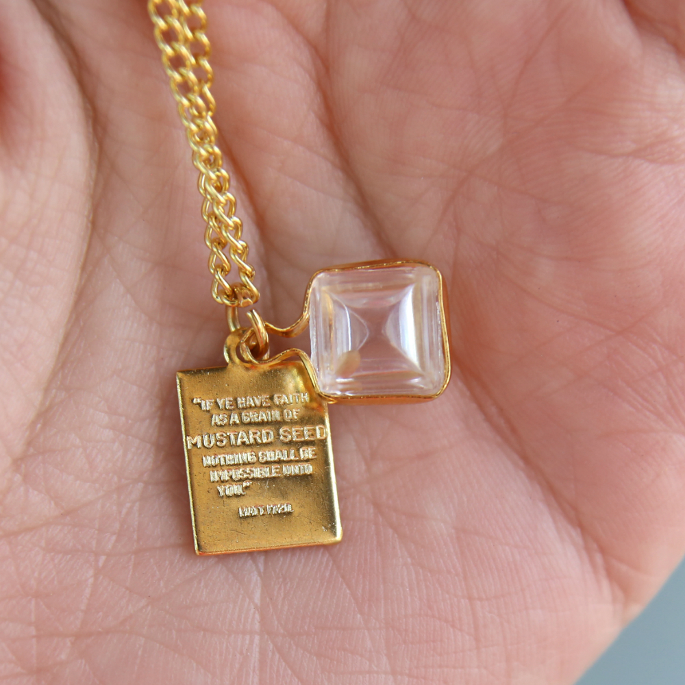 Gold Cube Mustard Seed Necklace - CF-P79987