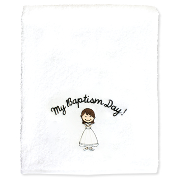 My Baptism Day Towel - Brown Hair Girl - RM-BCL021
