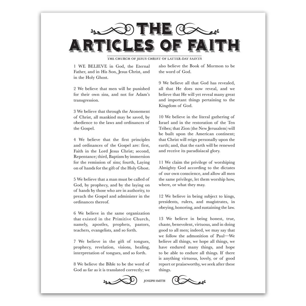 photo about 13 Articles of Faith Printable named Newspaper Content articles of Religion - Black - Printable