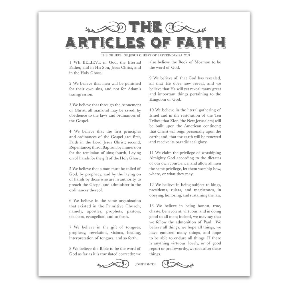 picture about Articles of Faith Printable titled Newspaper Content of Religion - Charcoal - Printable