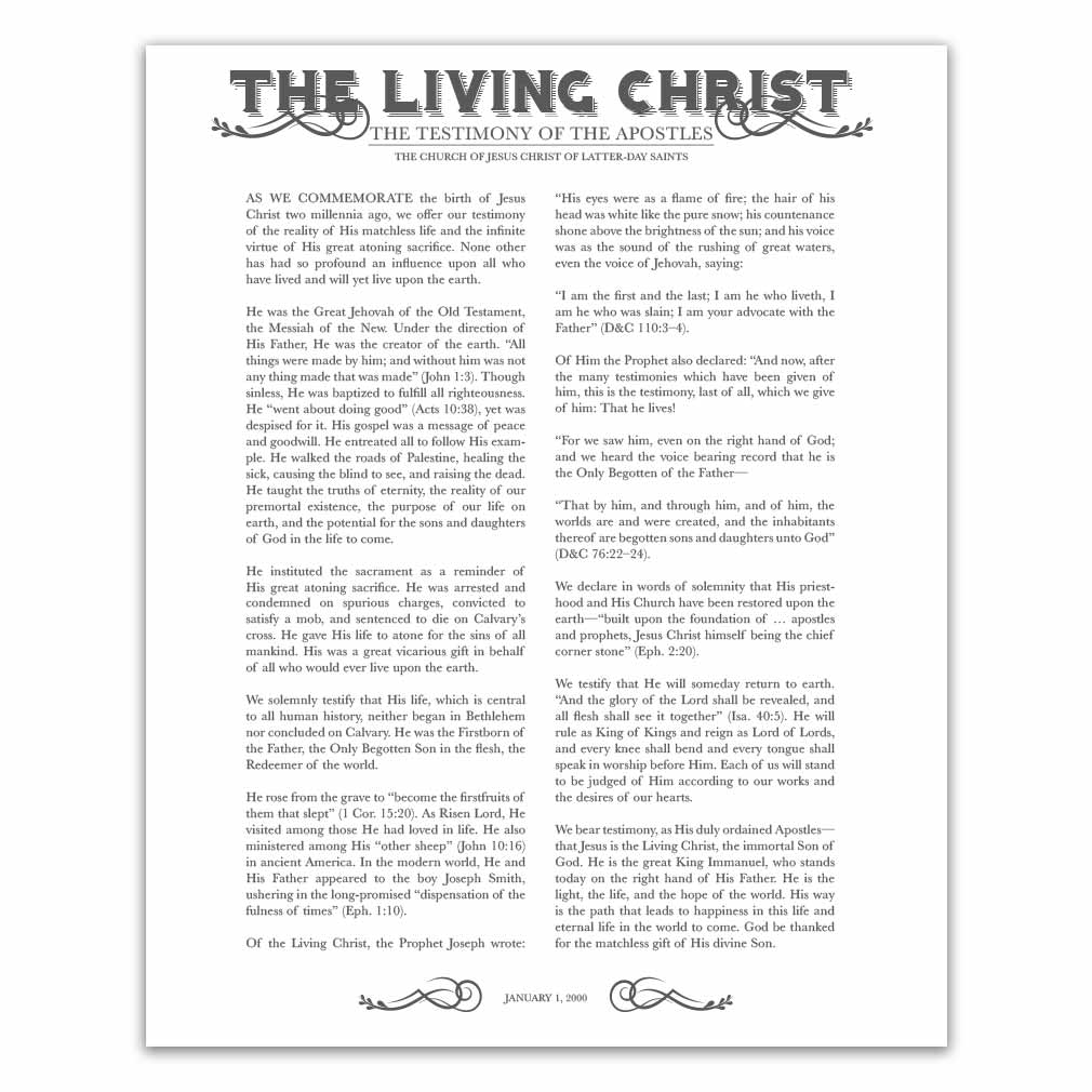 image relating to Family Proclamation Printable called Newspaper Residing Christ - Charcoal - Printable