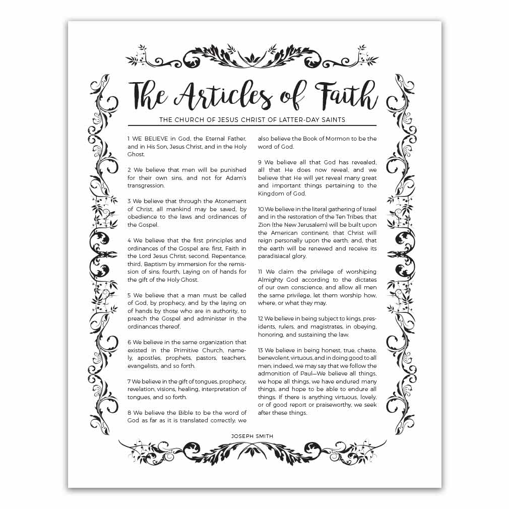 photo regarding 13 Articles of Faith Printable called Organic and natural Content material of Religion - Black - Printable