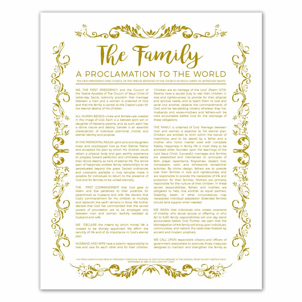graphic regarding Family Proclamation Printable named Natural Spouse and children Proclamation - Gold - Printable