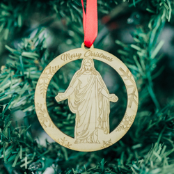 Circle Christus Ornament - Wood