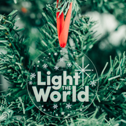 Light the World Ornament - Acrylic light the world, lds light the world theme, light the world ornament, lds gifts, lds ornament, lds christmas gifts