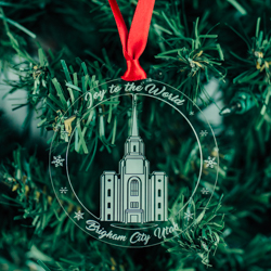 Brigham City Temple Ornament - Acrylic brigham city temple, brigham city temple ornament, brigham city temple decor, lds temple ornament, lds christmas gifts, lds gifts, wedding gifts