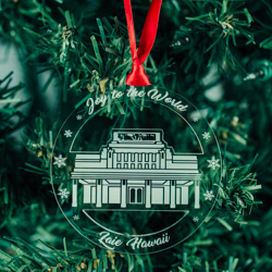 Laie Temple Ornament - Acrylic laie hawaii temple ornament, lds laie temple, laie hawaii temple decor, lds temple ornament, christmas ornament, christmas gifts, lds christmas gifts, lds decor, lds temple decor, mormon gifts,