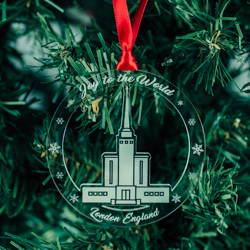 London England Temple Ornament - Acrylic london england temple, london england temple ornament, london england temple decor, lds temple ornaments, lds temple decor, lds christmas gifts, lds christmas decortations,