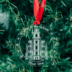 Manti Temple Ornament - Acrylic manti temple, manti temple ornament, manti temple decor, manti temple artwork, lds temple ornament, lds temple decor, christmas decor, lds christmas decor, lds christmas gifts