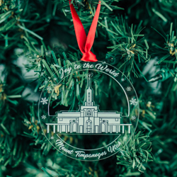 Mount Timpanogos Temple Ornament - Acrylic mt timpanogos, mt timpanogos ornament, mt timpanogos decor, lds temple ornament, lds temple decor, lds christmas gifts, lds gifts, lds decor