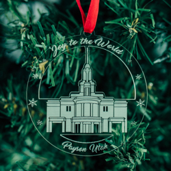 Payson Temple Ornament- Acrylic payson temple, payson temple ornament, lds temple ornament, lds temple decor, lds christmas gifts, lds gifts, lds wedding gifts