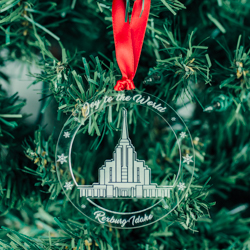 Rexburg Temple Ornament - Acrylic rexburg idaho temple, rexburg idaho temple ornament, rexburg idaho temple decor, lds temple ornament, lds temple decor, lds christmas ornaments, lds christmas decor, lds christmas gifts