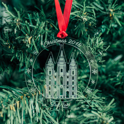 Salt Lake City Temple Ornament - Acrylic salt lake city temple, salt lake city temple ornament, salt lake city temple decor, salt lake city temple gifts, lds temple gifts, lds christmas gifts, lds christmas decor, lds temple ornaments