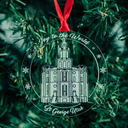 St. George Temple Ornament - Acrylic st george utah, st george utah ornament, st george utah decor, lds temple ornament, lds christmas gifts, lds christmas decor, lds gifts