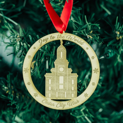 Cedar City Temple Ornament - Wood