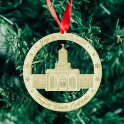 Newport Beach Temple Ornament - Wood - LDP-ORN-NPBEACH-WOOD