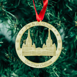 San Diego Temple Ornament - Wood wood ornaments, wood temple ornaments, wood lds ornaments, san diego temple ornament, san diego temple, lds san diego temple, lds temple ornament, lds christmas ornament, lds christmas gifts