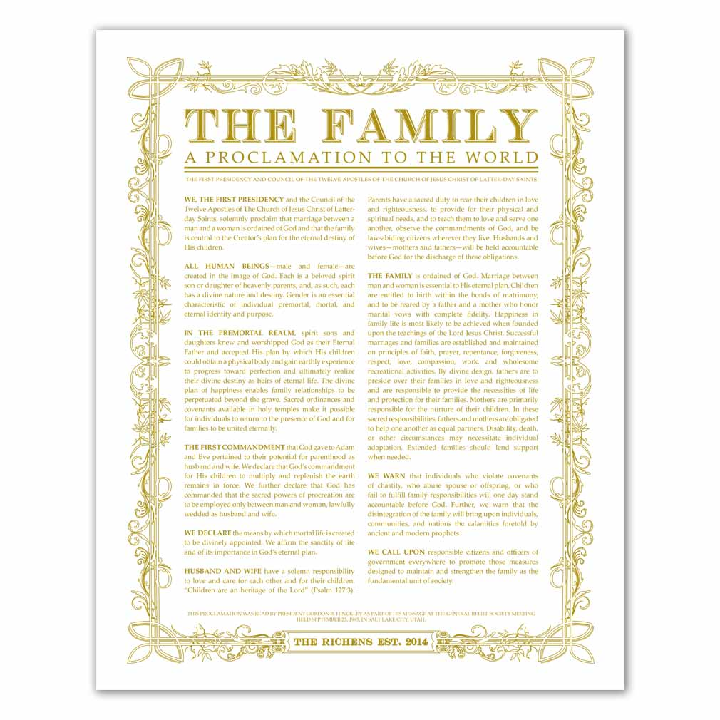 Personalized Leaf Outline Family Proclamation - LDP-CFP282
