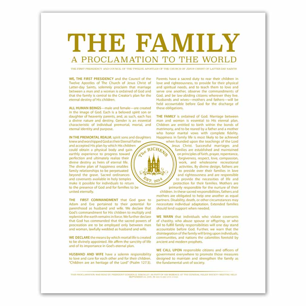Personalized Temple Stamp Family Proclamation - LDP-CFP283