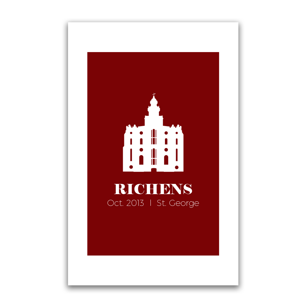 Personalized Temple Vector Poster - Square - LDP-CTEMPPOSTSQ