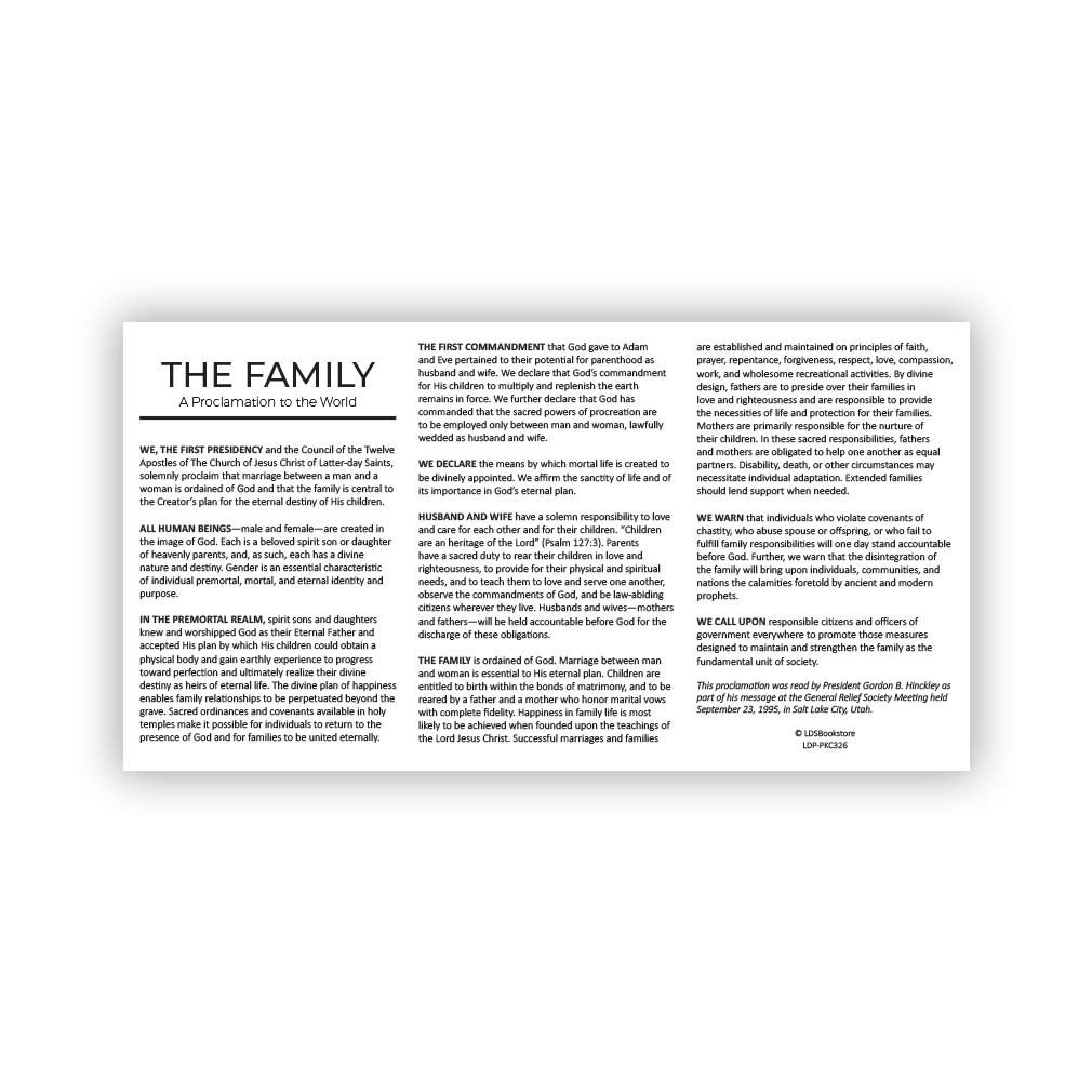 Family Proclamation & Living Christ Pocket Card - LDP-PKC326