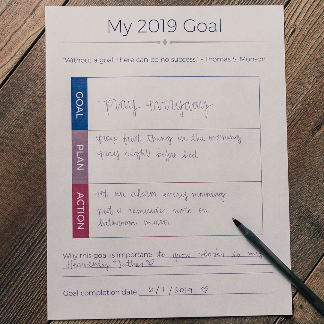 2019 LDS Goal Setting Worksheet - LDPD-PBL-2019GOAL