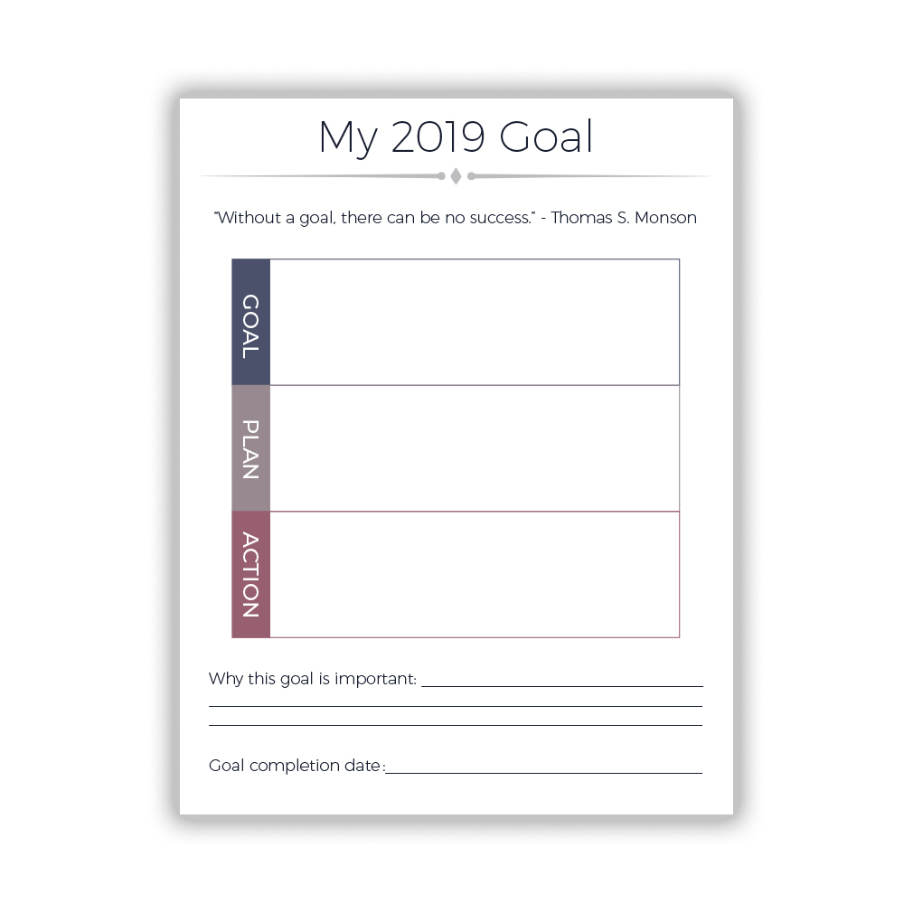 2019 LDS Goal Setting Worksheet