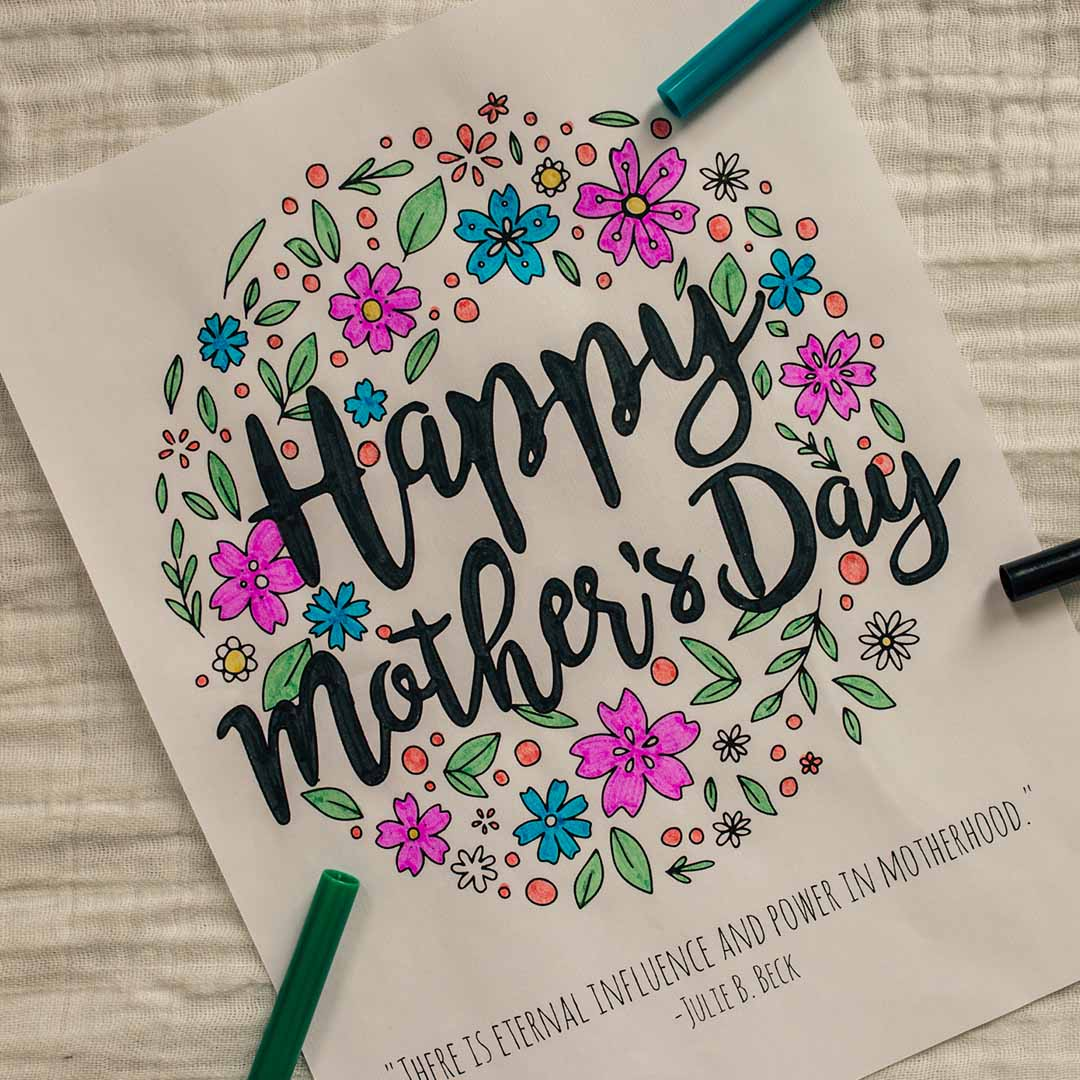 Happy Mother's Day Coloring Page - Printable - LDPD-COLOR-MOM19