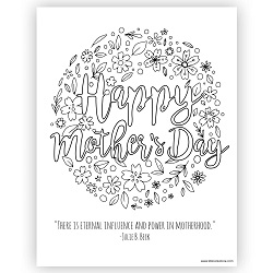 Happy Mothers Day Coloring Page - Printable lds mothers day coloring page, lds mothers day printable, free lds mothers day