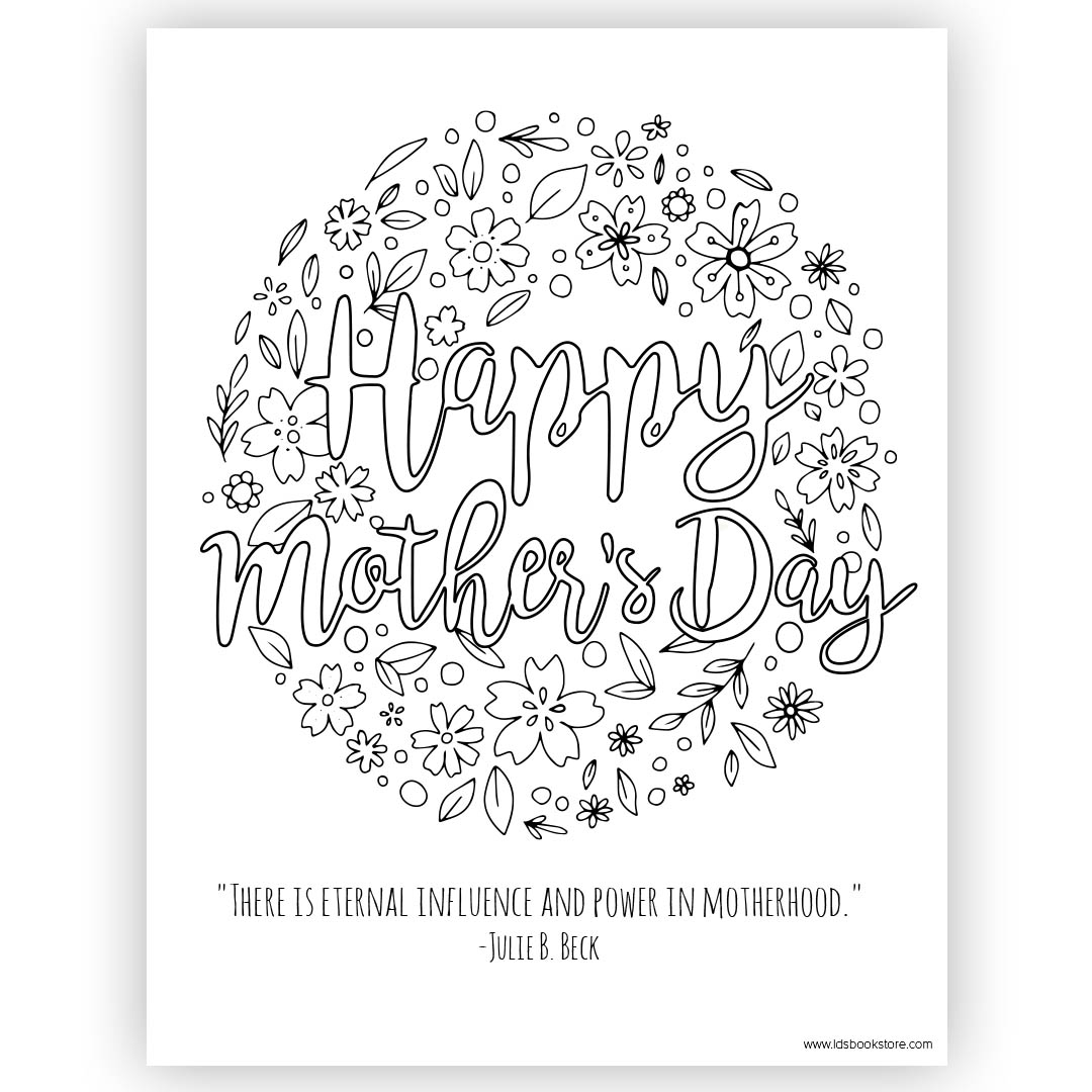 graphic about Mothers Day Coloring Pages Printable called Satisfied Moms Working day Coloring Webpage - Printable