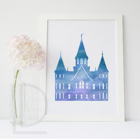 graphic about Watercolor Printable named Provo Metropolis Heart Temple Watercolor Wall Artwork - Blue Printable