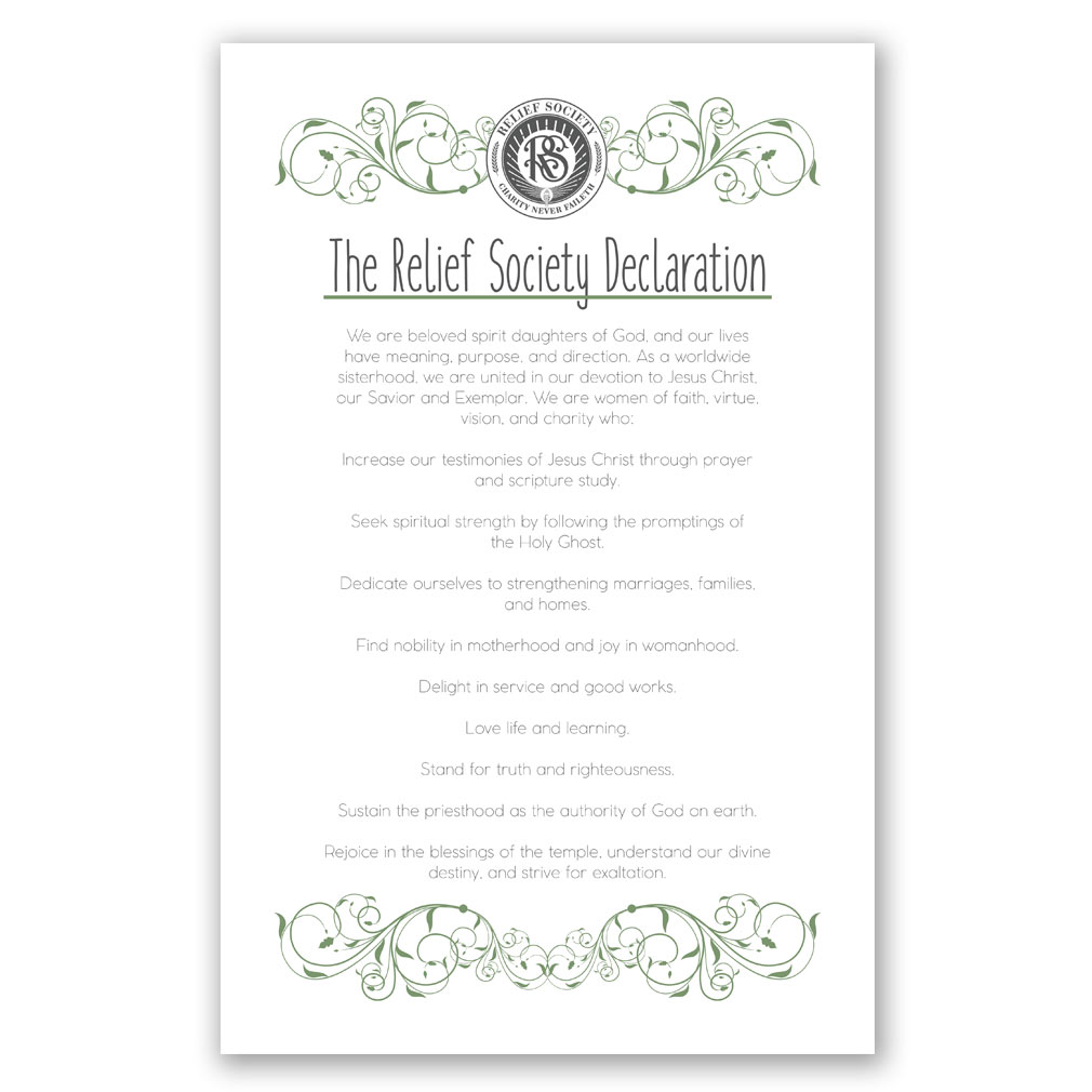 Lds Relief Society Poster Green Scroll Style