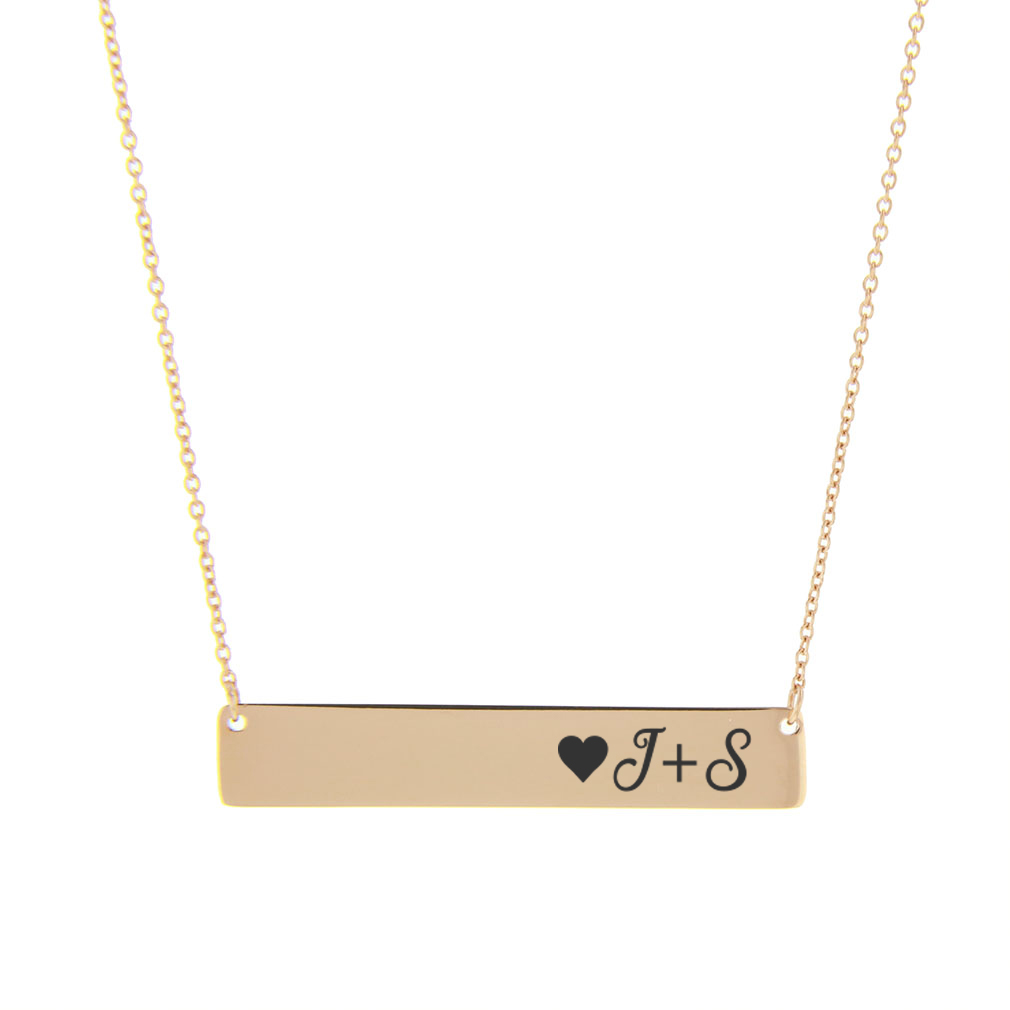 Initial Heart Horizontal Bar Necklace - LDP-IHHBN400