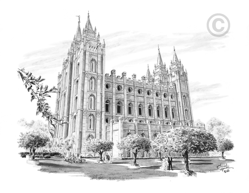 Salt Lake City Utah Temple Marriage Sketch In Temple Prints