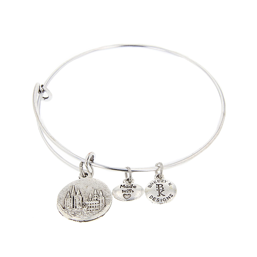 Salt Lake Temple Medallion Bangle Bracelet - Silver