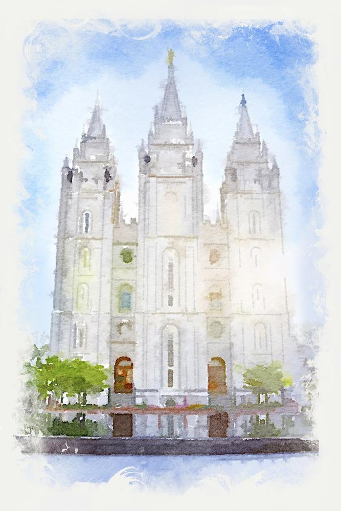 Salt Lake Temple Watercolor Print In Temple Prints