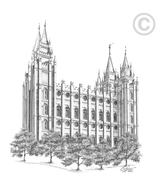 Salt Lake Utah Temple Sketch In Temple Prints Ldsbookstore Com