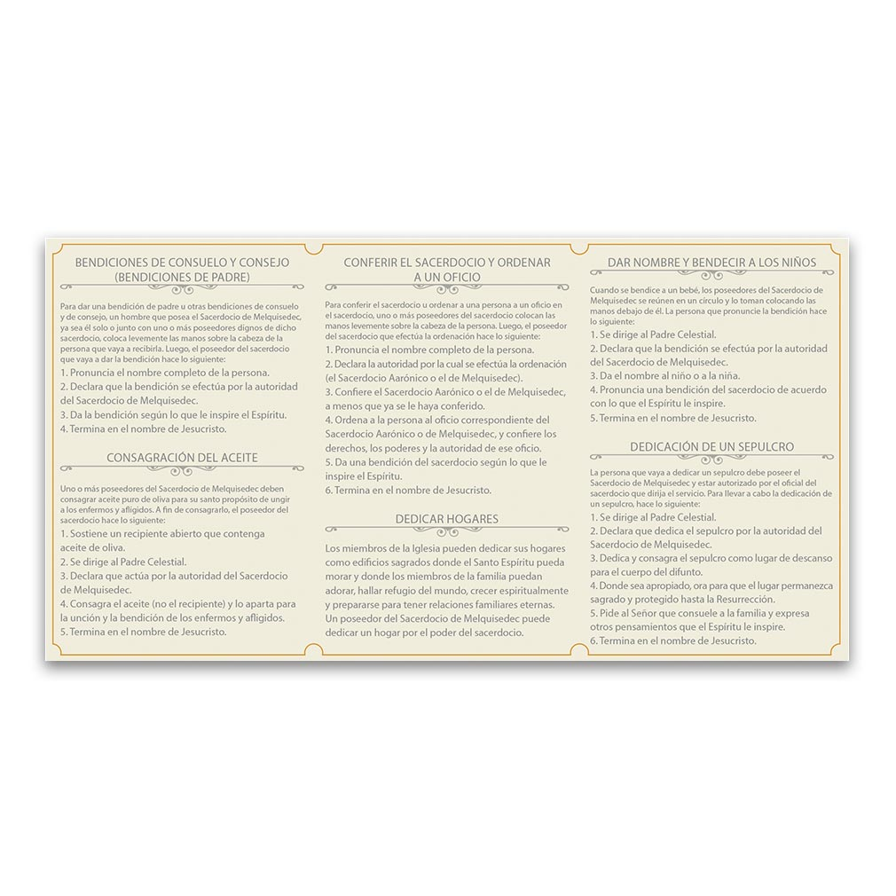 Spanish Priesthood Ordinance Card - LDP-PKCSPPO