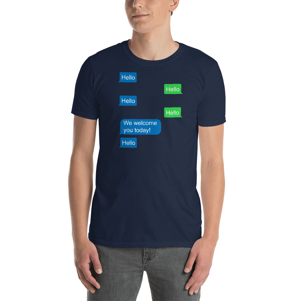 Hello, Hello Texting T-Shirt - Unisex - LDP-TEES-HELLOTEXT-US