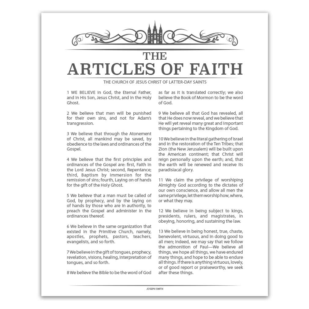 graphic regarding Lds Articles of Faith Printable referred to as Temple Header Content articles of Religion - Charcoal - Printable