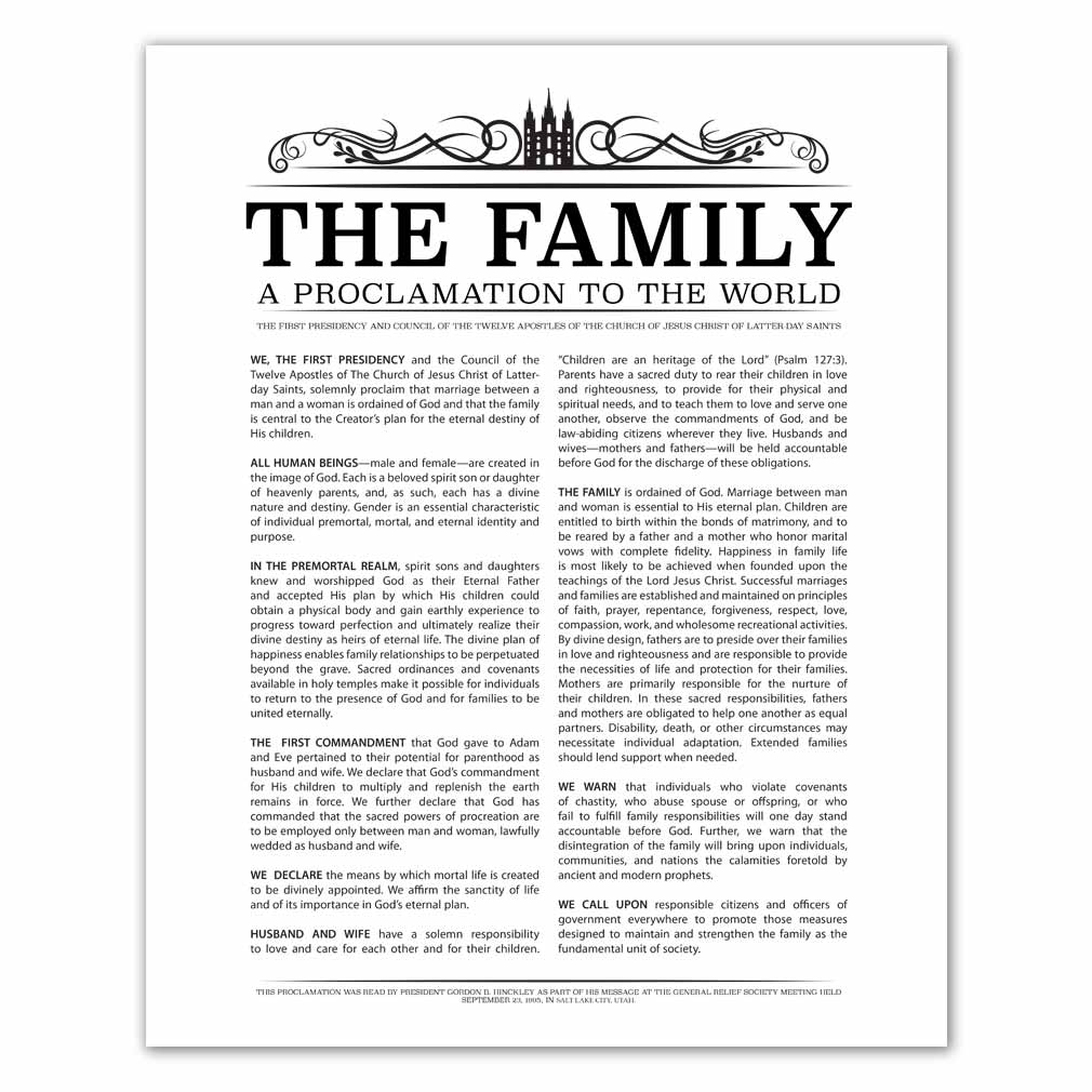 graphic relating to The Family a Proclamation to the World Printable titled Temple Header Loved ones Proclamation - Black - Printable