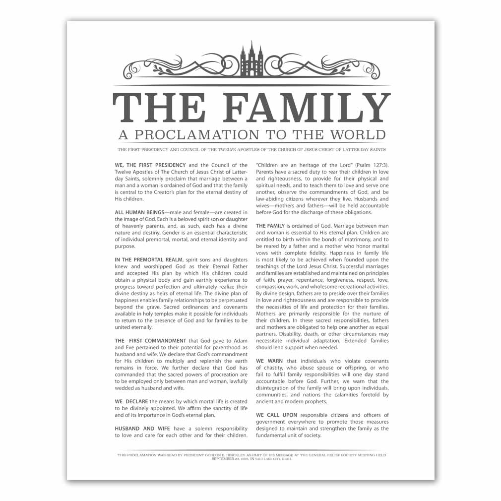 photo relating to The Family a Proclamation to the World Free Printable identified as Temple Header Relatives Proclamation - Charcoal - Printable