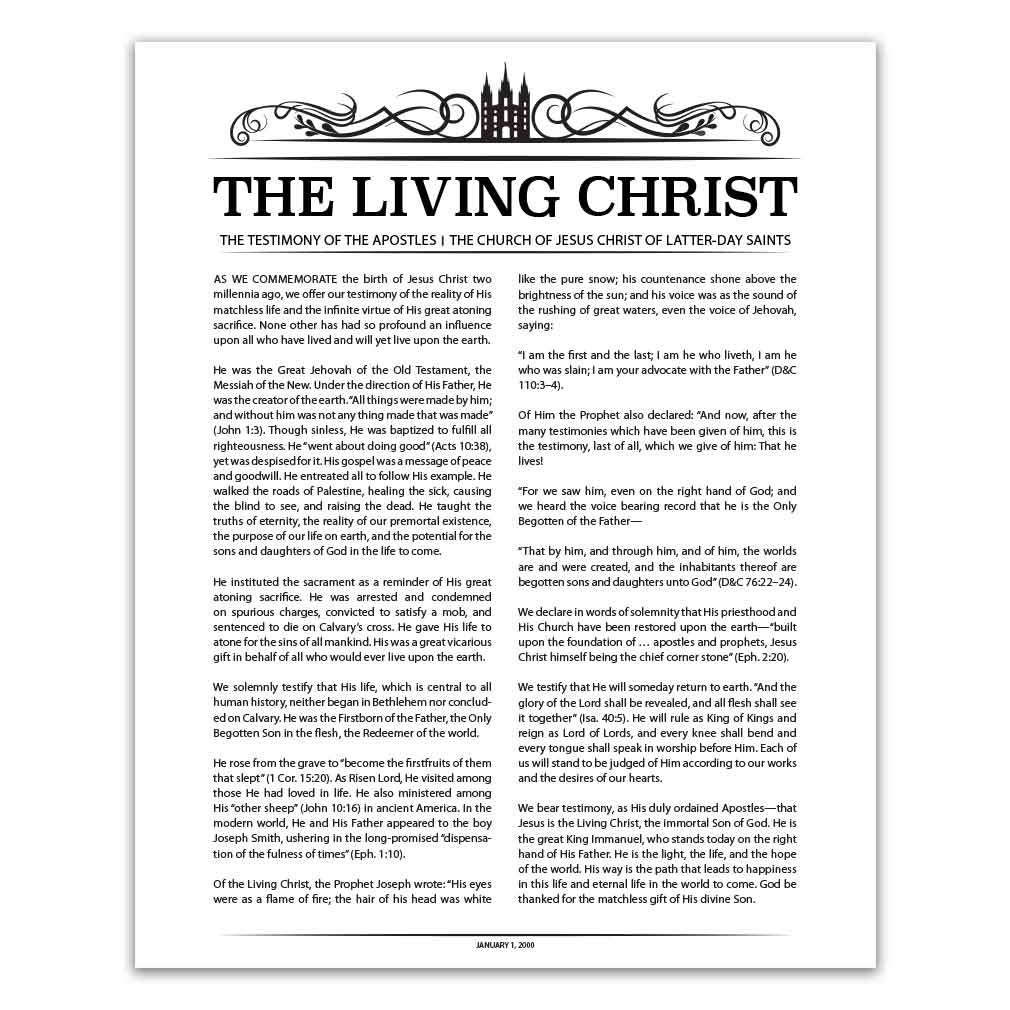 graphic regarding The Living Christ Free Printable identify Temple Header Residing Christ - Black - Printable