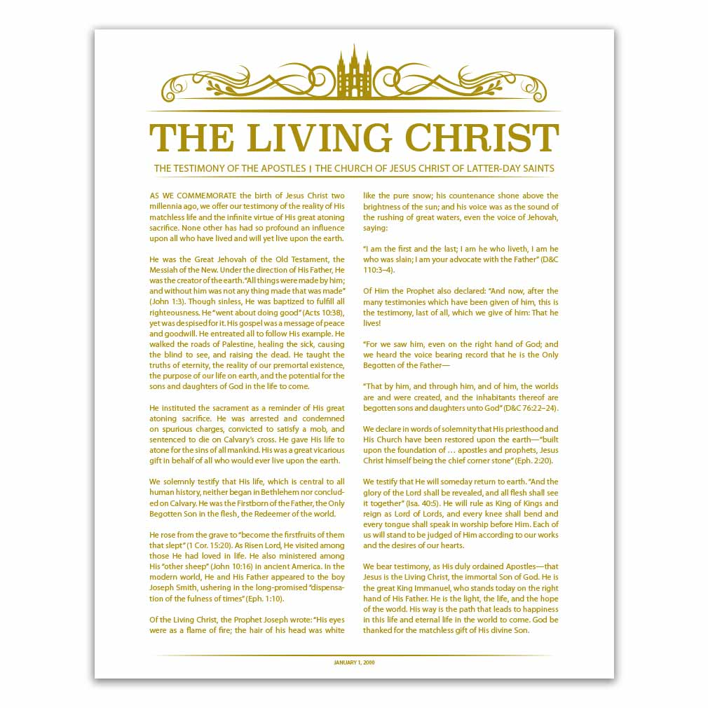 picture regarding The Living Christ Printable named Temple Header Dwelling Christ - Gold - Printable