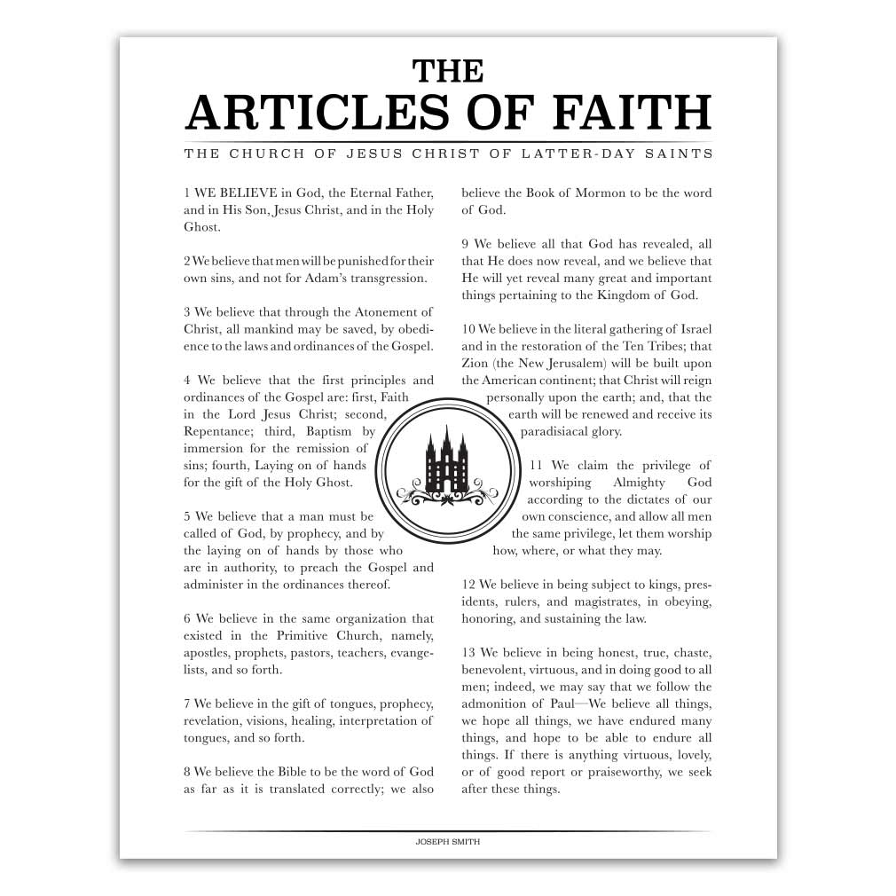 picture regarding 13 Articles of Faith Printable named Temple Stamp Content material of Religion - Black - Printable